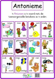 Antonieme Colourful high quality posters making learning more fun! Also great for enhancing the learning environment. Available in Afrikaans only Preschool Learning, Classroom Activities, Classroom Ideas, Grade R Worksheets, Teaching Aids, Teaching Posters, Teaching Phonics, Afrikaans Language, Learn Dutch