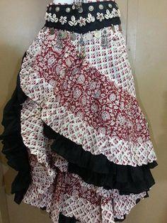 25 yard Block Print Skirt RED WHITE - Magical Fashions
