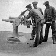 Submarine Gun: 75 millimeter gun made by the German arms manufacture Krupp. It was designed to provide submarines with defensive armament. The gun was supposed to fold away under the deck when not in use, but during World War I fixed larger caliber guns were preferred, often for sinking unarmed merchant ships.