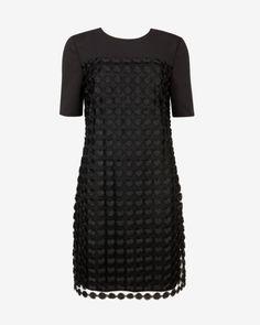Geometric lace shift dress - Black | Dresses | Ted Baker