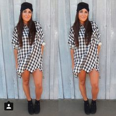 Black and White Plaid Dress Very comfy and loose fitting long sleeve dress. Buttons from top to bottom. Small stain on right sleeve (pictured). And pockets!!!!! Unseen Addiction Dresses