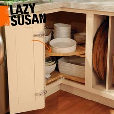 In modern cabinet design, a lazy susan most often refers to a rotating rack found in corner cabinets, making it easier to locate items stored in the back corner of the cabinet.