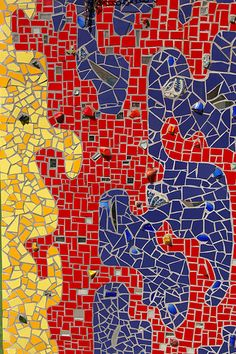 Free form Mosaic in primary colors