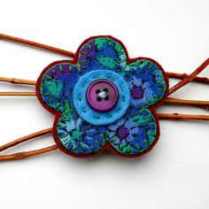 Vintage Fabric  DAISY 70s Retro Brooch in Blue Green by audreyscat, £4.50