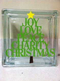 christmas tree words  glass block