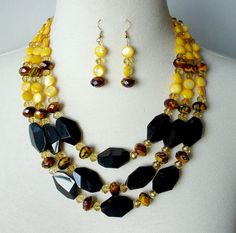 Statement Necklace Set Yellow Black Multistrand by laiseoriginals, *SOLD*
