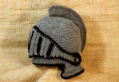 Medieval hat Crochet Knight Helmet Hat with by BadHatCat on Etsy