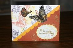 OSW Butterflies Card 2 Stamps: on gossamer wings, happy harmony, ladybugs Paper: really rust, ww, vellum, summer sun Ink: versamark, eggplant, summer sun, really rust, artichoke Accessories: markers, embossing powders, scallop punch & paper piercer