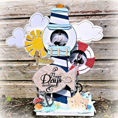 Lighthouse frame Altered photo frame using Bo Bunny Double Dot Cradstock Beach Scrapbook Layouts, Double Dot, Card Stock, Minnie Mouse, Cool Designs, Paper Crafts, Crafty, Cool Stuff, Disney Characters