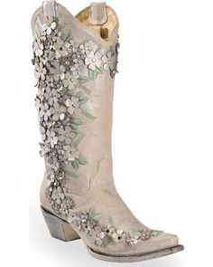 Corral Women's White Floral Overlay Embroidered Stud and Crystals Cowgirl Boots - Snip Toe, White #cowgirlboots