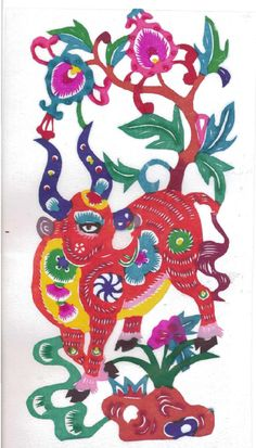 Chinese paper cut - Zodiac Series - Ox. Ox people are down to earth; they think things through before making decisions and are very patient. By Southwest University in China