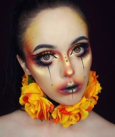 50 Pretty and Unique Makeup Looks For Halloween; the hottest Halloween makeup looks. Makeup Carnaval, Clown Makeup, Costume Makeup, Makeup Art, Beauty Makeup, Hair Makeup, Makeup Ideas, Makeup Style, Sfx Makeup