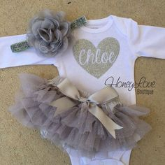 Personalized name heart glitter shirt, flower headband bow gray silver sparkle ruffle bloomers tutu skirt, newborn infant toddler baby girl outfit coming home take home monogram grey bodysuit  by HoneyLoveBoutique