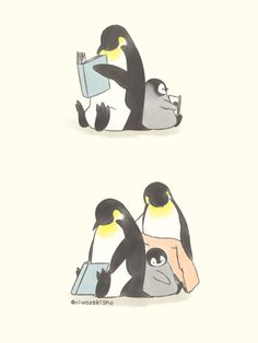 Reading penguins art