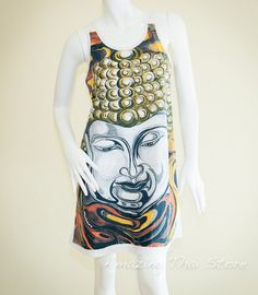 buddha long tanks | Zen Buddha Watery Portrait Tank Top Dress Hippie Gypsy Boho Weed ...