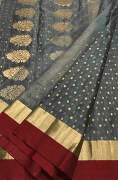 Buy online Off White Handloom Chanderi Katan Tissue Silk Saree Online.Shop more Handloom Chanderi Katan Tissue Silk Saree at Luxurionworld.