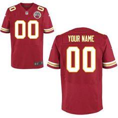Nike NFL Kansas City Chiefs Men's Custom Elite Red Team Color Jersey 2014