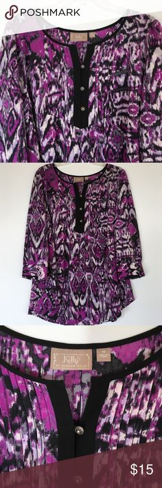 """Beautiful Kelly by Clinton Black Tunic In excellent used condition this top has no stains or pilling or tears. Measures 25 1/2"""" across from armpit to armpit and 27"""" long center back. Has shirttail hem. 94% polyester and 6 % spandex. Please ask questions and check out bundling to save. Kelly by Clinton Black Tops Tunics"""