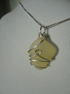 Large rare yellow wire wrapped sea glass by atreasurefromthesea, $19.99