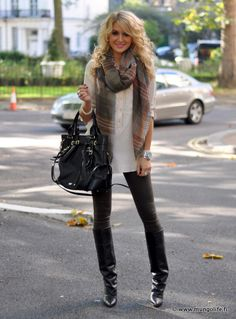 Black skinnies, bag, knee boots, white oversize button down, plaid scarf