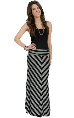 Jody Women's Black & Grey Stripe Maxi Skirt | Cavender's