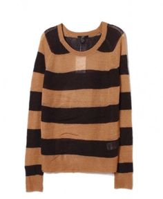 Color Block Round Neckline Stripe Pullover - Knitwear - Clothing