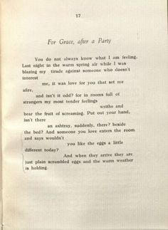 For Grace, After A Party by Frank O'Hara