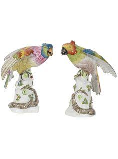 Pair of 19th Century Porcelain Parrot Sculptures