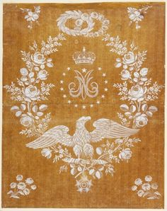 Embroidery Design Commemorating the Marriage of Napoleon I and Marie-Louise, France, 1810.
