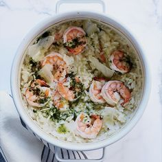 Baked Shrimp Risotto | In her cheater's risotto, Kay Chun doesn't bother with stirring; instead, she bakes the rice in the oven, then adds shrimp and cheese at the very end.