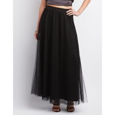 Charlotte Russe Tulle Full Maxi Skirt ($33) ❤ liked on Polyvore featuring skirts, black, high-waist skirt, elastic waist skirt, long skirts, high waisted skirts and high-waisted maxi skirt