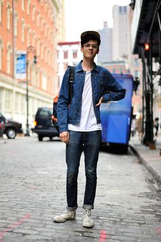 NY Street Style: Wearing A.P.C. denim and PLAY COMME des GARÇON sneakers , denim Jacket and Jean , Denim on denim