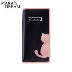 4.95$  Watch now - http://alixle.shopchina.info/go.php?t=32784724174 - Mara's Dream 2017 New Women Wallets Long Section Female Cute Cat Hit Color Wave Point Zipper Wallet Student Purse 4.95$ #aliexpress