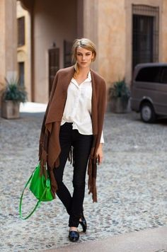 black skinnies // white blouse // brown wrap // neon green satchel