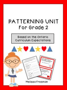 Patterning worksheets, task cards, posters, word search and a test! *Also part of a larger bundle of Grade 2 math units. Check it out! 2nd Grade Math, Grade 2, First Grade, Second Grade, Science Resources, Math Activities, Teaching Resources, Teaching Ideas, Ontario Curriculum