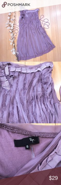 "Anthropologie RYU dreamy romantic dress, S. Dreamy and romantic dress by Anthropologie brand Ryu, size small. Beautiful dark shade of lavender purple, jersey knit with chiffon outer layer, shabby chic layers of romantic purple tendrils. This dress does look like some of the decorations need a quick iron, but is in otherwise very good pre-loved condition.  Bust measures 17"" across and is very stretchy, length from the top of the one shoulder to the bottom hem is 34.5"". Soft and stretchy…"