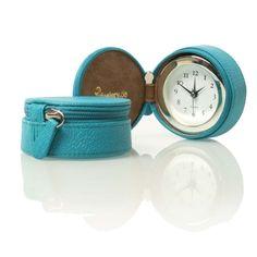 Uhr mit Weckerfunktion in Reißverschlußdose türkis | desiary.de - identity store