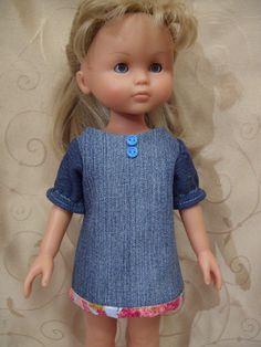 Corolle Les Cheries Denim Dress, fits 13inch-14inch dolls