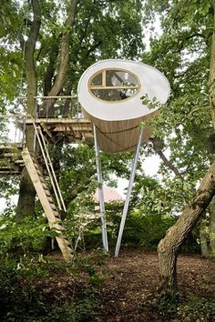 Exterior of the 'Djuren' treehouse in Germany designed by Andreas Wenning