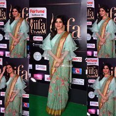 samantha ruth prabhu at iifa utsavam Saree Draping Styles, Saree Styles, Blouse Styles, Trendy Sarees, Stylish Sarees, Blouse Patterns, Saree Blouse Designs, Indian Attire, Indian Outfits
