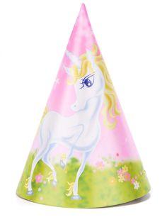 6 Chapeaux de fête Licorne girly 16 cm et un choix immense de décorations  pas chères. Décoration Anniversaire