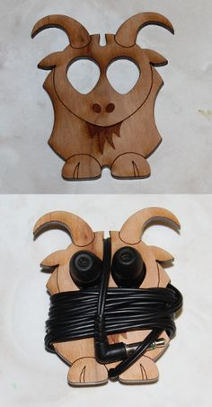 Laser engraved and cut goat earbud organizer
