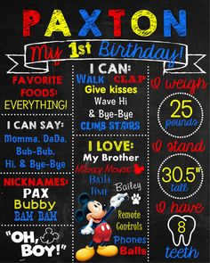 Chalkboard First Birthday Poster in Mickey Mouse theme with primary colors.  This can be customized for any theme, any color, and the content can be modified. Just contact me today via email at aswiney01@yahoo.com or click on the image to visit my facebook page and message me there. I can design this or any other poster for only $15. I can do coordinating invitations as well. I offer a discount if customers purchase more than one item.