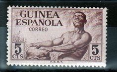 1952 Natives 5cts stamp Spanish Guinea Africa Mint hinged Correo FNMT Brown