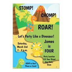 Dinosaur Birthday Invitation Boy Birthday, Birthday Parties, Birthday Cards, Holiday Cards, Christmas Cards, Dinosaur Birthday Invitations, Cute Dinosaur, Christmas Card Holders, Kids