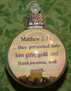 Gold, frankincense and myrrh ornament