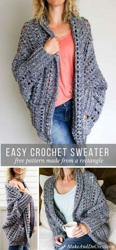 Chunky crochet shrug cocoon sweater cardigan