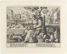 Raphaël Sadeler (I) | Begeerte, Raphaël Sadeler (I), 1592 | Op de voorgrond zit een oudere dame aan een gedekte tafel. Ze heeft een zak met geld op haar schoot en grijpt naar een vogelpastei op de tafel. Zij is de personificatie van de Begeerte (Cupiditas). Rondom haar drie dieren: pad, arend en een vos met een kip in zijn bek. Naast de tafel liggen kisten, kruiken en zakken met geld. Links op de achtergrond een bouwwerf. Voor het gebouw een vrouw met een anker en een rijkgevulde beurs…