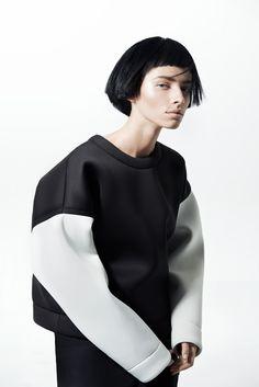 White Sleeve Sweatshirt by OMELYA