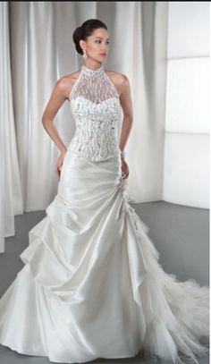 Different - Halter Top Wedding Dress #dream_wedding #romantic #bridal #white #wedding #dress #dresses #gowns #femininity #bride #women #ladies #fashion #elegant #beauty #couture #high_heels #train #mermaid #sleeves #lingerie #vintage #jaglady #tulle #lace